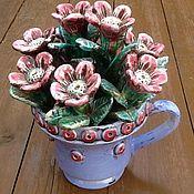 """Для дома и интерьера ручной работы. Ярмарка Мастеров - ручная работа Керамический букет """"Розовые цветы"""".. Handmade."""