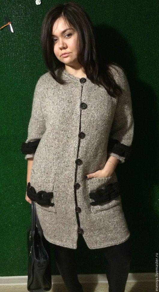 Кофты и свитера ручной работы. Ярмарка Мастеров - ручная работа. Купить Пальто вязаное. Handmade. Бежевый