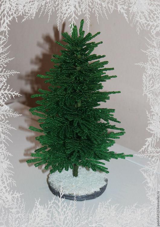 Деревья ручной работы. Ярмарка Мастеров - ручная работа. Купить Ёлка из бисера. Handmade. Тёмно-зелёный, елка из бисера, проволока