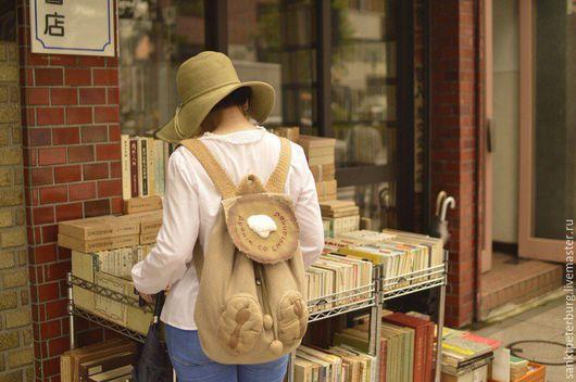 Рюкзаки ручной работы. Ярмарка Мастеров - ручная работа. Купить Белорусский рюкзак для японской девчонки:). Handmade. Бежевый, лён