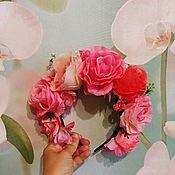"""Народные украшения ручной работы. Ярмарка Мастеров - ручная работа Цветочный кокошник """"Королева роз """". Handmade."""