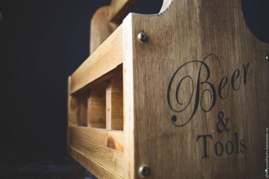 Подарочная упаковка ручной работы. Ярмарка Мастеров - ручная работа. Купить Пивной ящик-переноска (beer caddy). Handmade. пиво