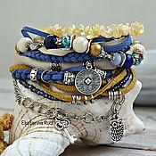Украшения handmade. Livemaster - original item Bracelet BOHO chic with citrine and leather