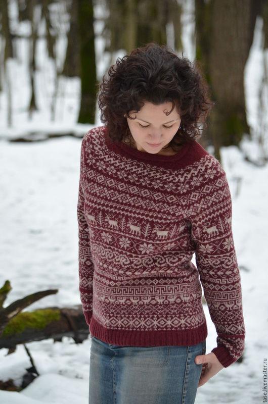 """Кофты и свитера ручной работы. Ярмарка Мастеров - ручная работа. Купить """"Олений"""" свитер. Handmade. Вязаный свитер, свитер с оленями"""