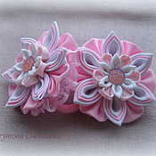 Работы для детей, handmade. Livemaster - original item Hair bands Pink marshmallow in the technique of kanzashi. Handmade.