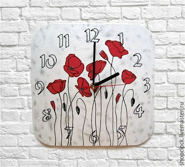 Wall clock Poppies, clock as a gift for March 8, birthday, Watch, Novosibirsk,  Фото №1