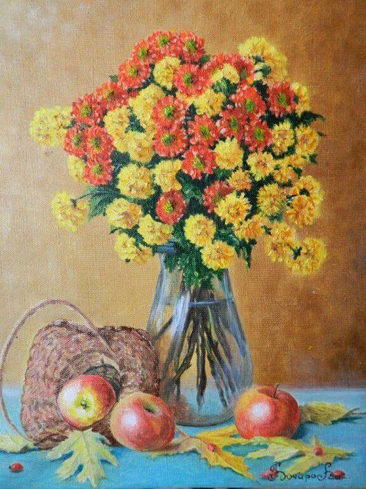 """Натюрморт ручной работы. Ярмарка Мастеров - ручная работа. Купить Натюрморт""""Осенний"""". Handmade. Натюрморт, яблоки, осень, оранжевый, корзина, дубки"""