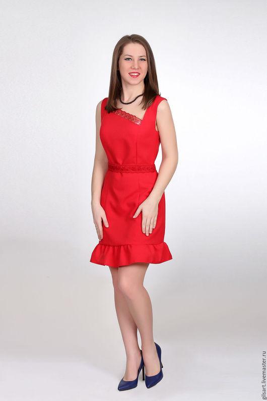 Платья ручной работы. Ярмарка Мастеров - ручная работа. Купить Платье. Handmade. Ярко-красный, повседневное платье, габардин