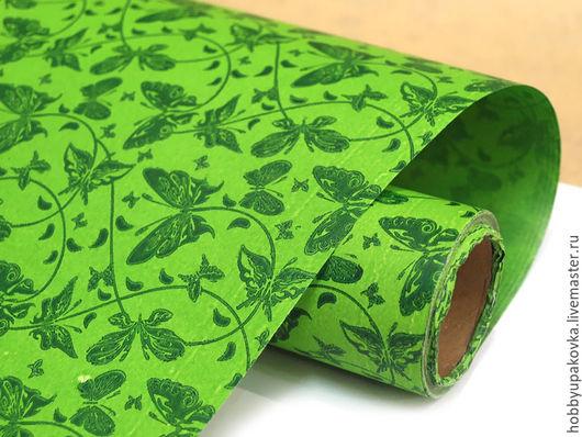 Упаковка ручной работы. Ярмарка Мастеров - ручная работа. Купить Бумага (зеленая с бабочками) упаковочная 50х70 см. Handmade.