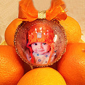 Подарки к праздникам ручной работы. Ярмарка Мастеров - ручная работа новогодний шар с фото. Handmade.