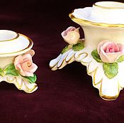 Vintage interior handmade. Livemaster - original item Porcelain candle holders with roses(set of) Kaag,Germany.. Handmade.