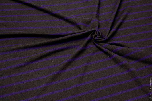 Шитье ручной работы. Ярмарка Мастеров - ручная работа. Купить Трикотаж вязаный коричневый в фиолетовую полоску. Handmade. Шерсть 100%