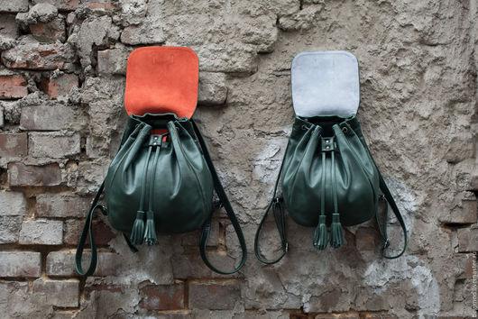 Рюкзаки ручной работы. Ярмарка Мастеров - ручная работа. Купить Рюкзак кожаный женский, зеленый, 2 размера, с замшевой подкладкой. Handmade.