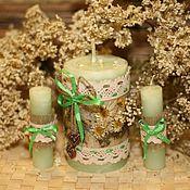 """Свадебный салон ручной работы. Ярмарка Мастеров - ручная работа Свадебные свечи """"Ромашковая свадьба"""". Handmade."""