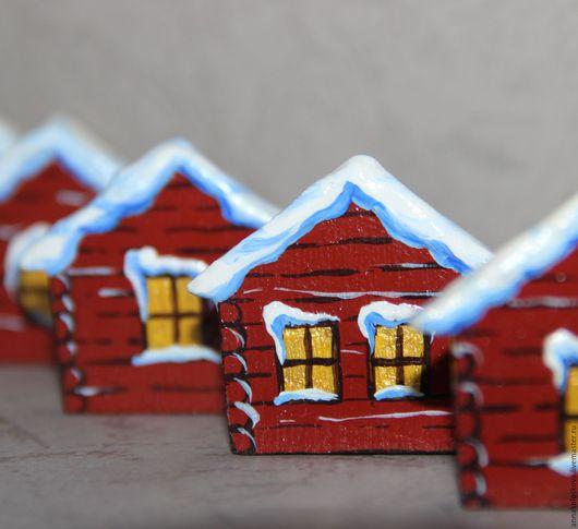 """Магниты ручной работы. Ярмарка Мастеров - ручная работа. Купить Магнит  """"Домик в деревне"""". Handmade. Коричневый, домик, магнит из дерева"""