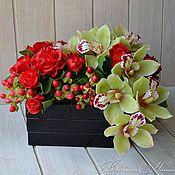 Цветы и флористика ручной работы. Ярмарка Мастеров - ручная работа Букет с цимбидиумом и розами из полимерной глины. Handmade.