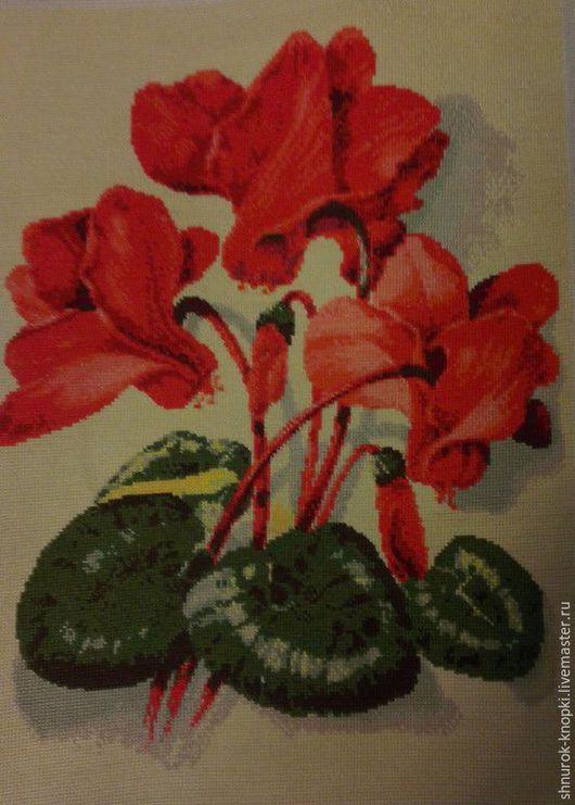 Картины цветов ручной работы. Ярмарка Мастеров - ручная работа. Купить Цикламен. Handmade. Вышивка крестом, подарок, картина в подарок