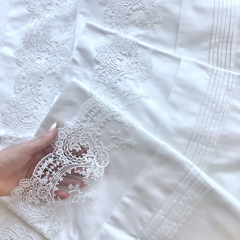 Свадебное белое постельное белье с испанским кружевом IEMESA, Подарки, Самара, Фото №1
