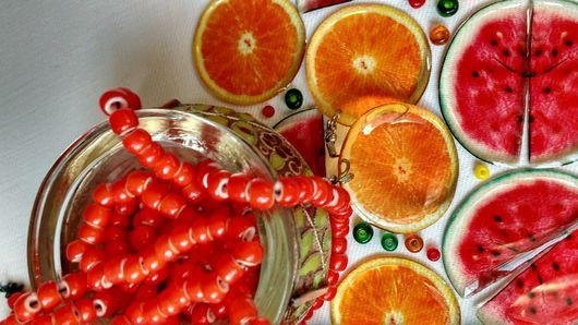 Серьги ручной работы. Ярмарка Мастеров - ручная работа. Купить Апельсин Витольдович серьги прозрачные. Handmade. Рыжий, скидки, жара