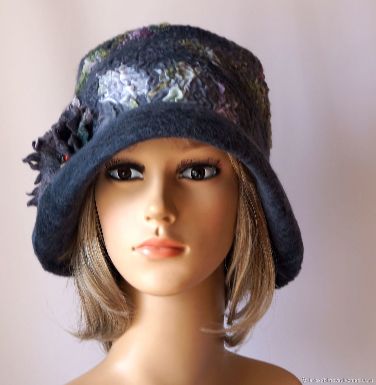 Шляпы ручной работы. Ярмарка Мастеров - ручная работа. Купить Шляпа валяная Мокрый асфальт, валяная серая шляпа, осень. Handmade.