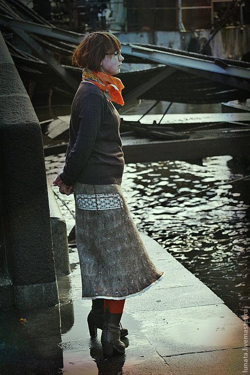 """Юбки ручной работы. Ярмарка Мастеров - ручная работа. Купить Валяная юбка """".. и осень пройдет)"""". Handmade. Бежевый, бохо"""