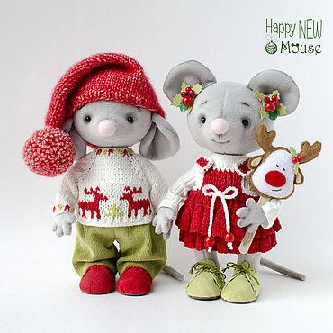 Куклы и игрушки ручной работы. Ярмарка Мастеров - ручная работа Боня и Соня новогодние мышки. Handmade.