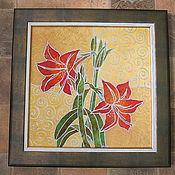 """Картины и панно ручной работы. Ярмарка Мастеров - ручная работа """"Аленький  цветочек """"батик-картина. Handmade."""