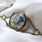 Украшения handmade. Livemaster - original item Round vintage retro bracelet with real flowers blue Lobelia. Handmade.