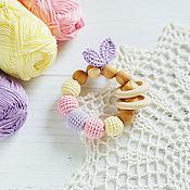 Одежда handmade. Livemaster - original item Teether with rings and leaves pastel. Handmade.