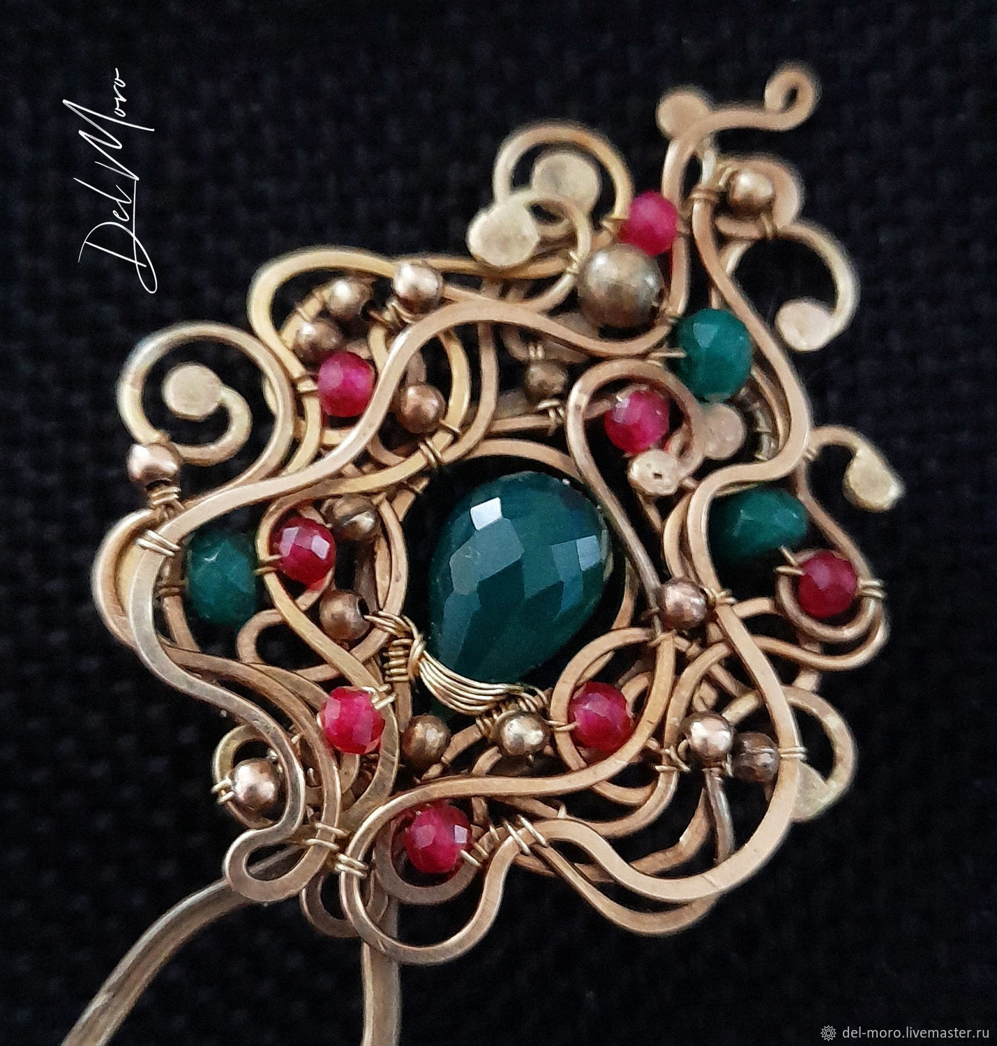 Hairpin with jade brass stone for hair ' Flower arch', Hairpin, St. Petersburg,  Фото №1