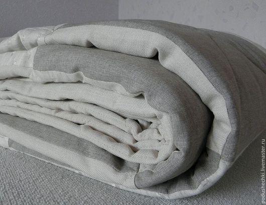 Текстиль, ковры ручной работы. Ярмарка Мастеров - ручная работа. Купить Льняное покрывало. Handmade. Бежевый, стеганое покрывало