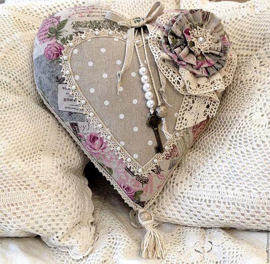 Текстиль, ковры ручной работы. Ярмарка Мастеров - ручная работа. Купить Подушка-сердце декоративная  Розовый винтаж. Handmade. подарок