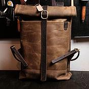 Men\\\`s backpack handmade. Livemaster - original item Leather men`s rolltop backpack (olive) rolltop (size M). Handmade.