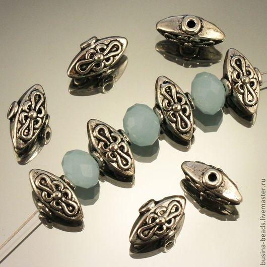 Бусины металлические литые Лампа Алладина в тибетском стиле с покрытием античное серебро для сборки украшений комплектами по 10 бусин