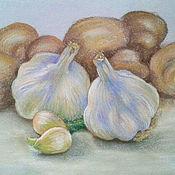 Картины и панно ручной работы. Ярмарка Мастеров - ручная работа Натюрморт Чеснок с грибами. Handmade.