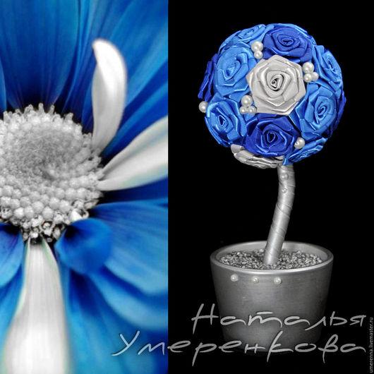 """Топиарии ручной работы. Ярмарка Мастеров - ручная работа. Купить Топиарий """"Пандора"""". Handmade. Синий, цветы из атласных лент, эксклюзив"""
