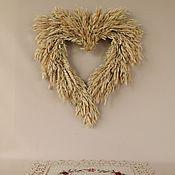 Свадебный салон ручной работы. Ярмарка Мастеров - ручная работа Интерьерный венок.Венок из колосьев.Сердце из колосьев. Handmade.
