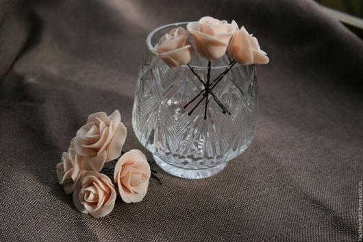 Свадебные украшения ручной работы. Ярмарка Мастеров - ручная работа. Купить Шпилька роза. Handmade. Роза, шпильки для волос, шпилька