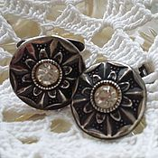 Vintage cufflinks handmade. Livemaster - original item Ladies cufflinks with rock crystal. Handmade.