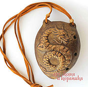 "Музыкальные инструменты handmade. Livemaster - original item Hand-made clay Ocarina (Tin whistle) ""Dragon"".Exclusive whistle. Handmade."