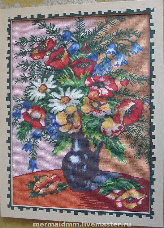 Картины цветов ручной работы. Ярмарка Мастеров - ручная работа. Купить букет полевых цветов. Handmade. Вышитая картина, мулине