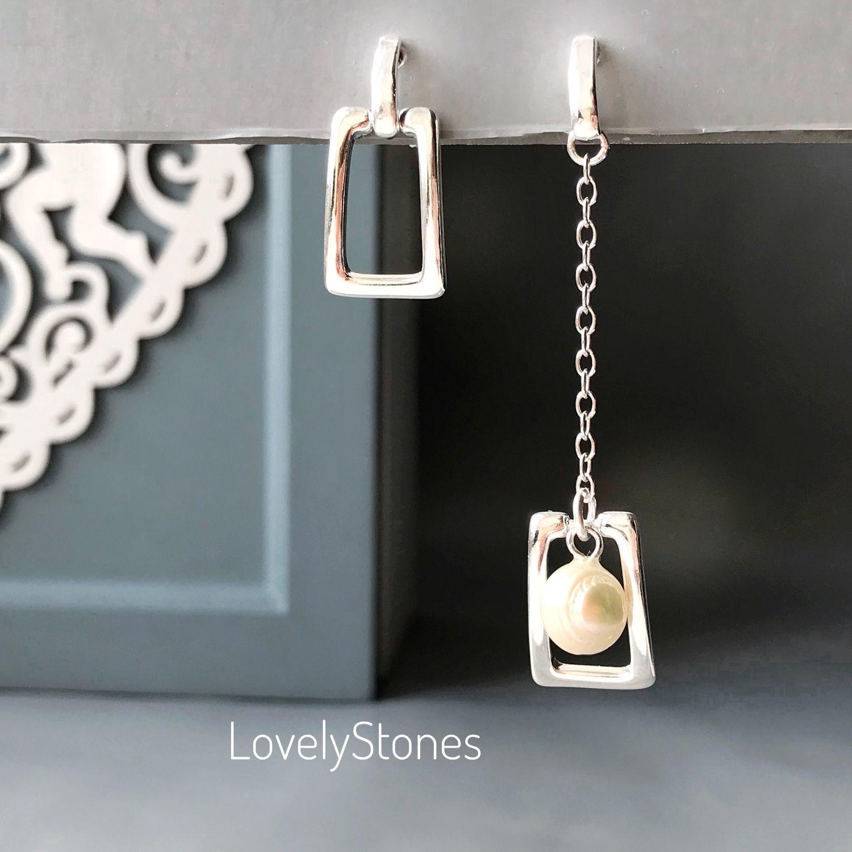 Asymmetric stud earrings with natural pearls, Stud earrings, Yaroslavl,  Фото №1