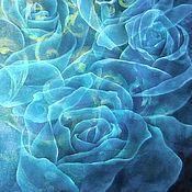 Картины и панно ручной работы. Ярмарка Мастеров - ручная работа Картина батик панно Розы под слоем льда. Картина на шелке. Синий.. Handmade.