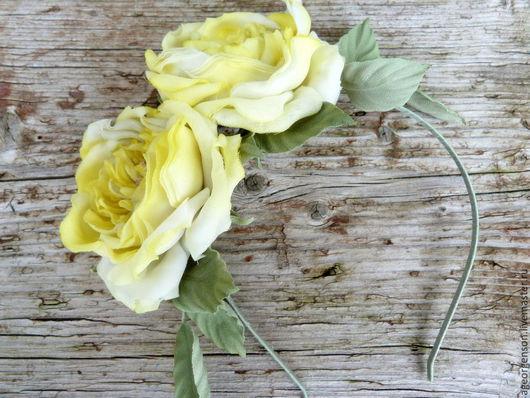 """Цветы ручной работы. Ярмарка Мастеров - ручная работа. Купить Ободок """"Лимонные Розы"""". Handmade. Лимонный, ободок с цветами, салатовый"""