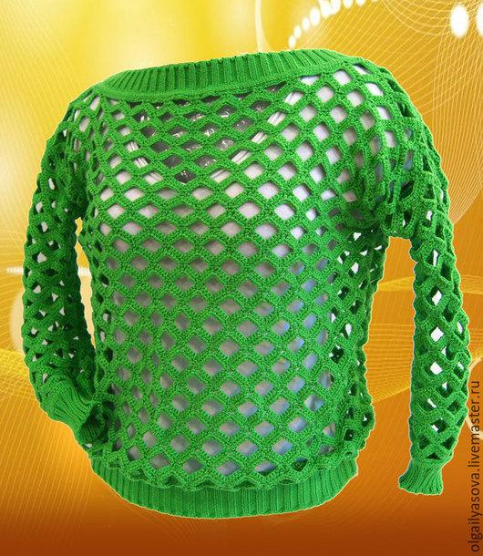 Кофты и свитера ручной работы. Ярмарка Мастеров - ручная работа. Купить Кофточка- летняя свежесть. Handmade. Ярко-зелёный