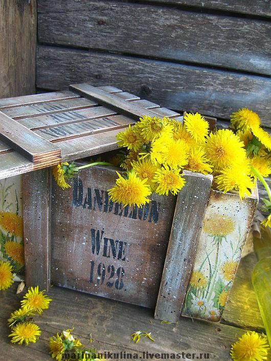 """Корзины, коробы ручной работы. Ярмарка Мастеров - ручная работа. Купить """"Dandelion Wine""""-пойманное и закупоренное в бутылки лето/ПРО. Handmade."""