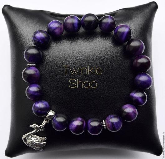 """Браслеты ручной работы. Ярмарка Мастеров - ручная работа. Купить Браслет из кошачьего глаза """"Purple"""". Handmade. Тёмно-фиолетовый, лебедь"""