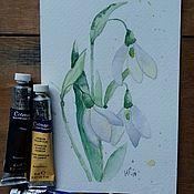 Открытки handmade. Livemaster - original item snowdrops. Postcard watercolor.. Handmade.