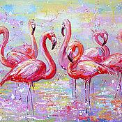 Картины и панно handmade. Livemaster - original item The picture Flamingo 60 x 80 cm