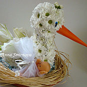 Цветы и флористика ручной работы. Ярмарка Мастеров - ручная работа Аист из цветов. Handmade.